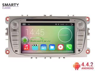 SMARTY серии Classic. Штатная автомагнитола на Android 4.4.2 для Ford, овал, серебристая рамка. 7 дюйм. HD экран 1024x600, 1.6 gHz проц, 1GB RAM DDR3